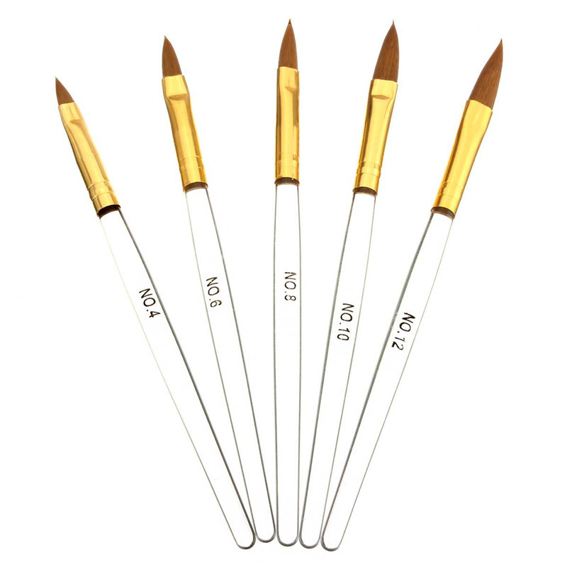 5pcs Crystal Nail Brush Set Kit Carved Pen Styling Manicure Tools Drawing Painting Liner UV Gel