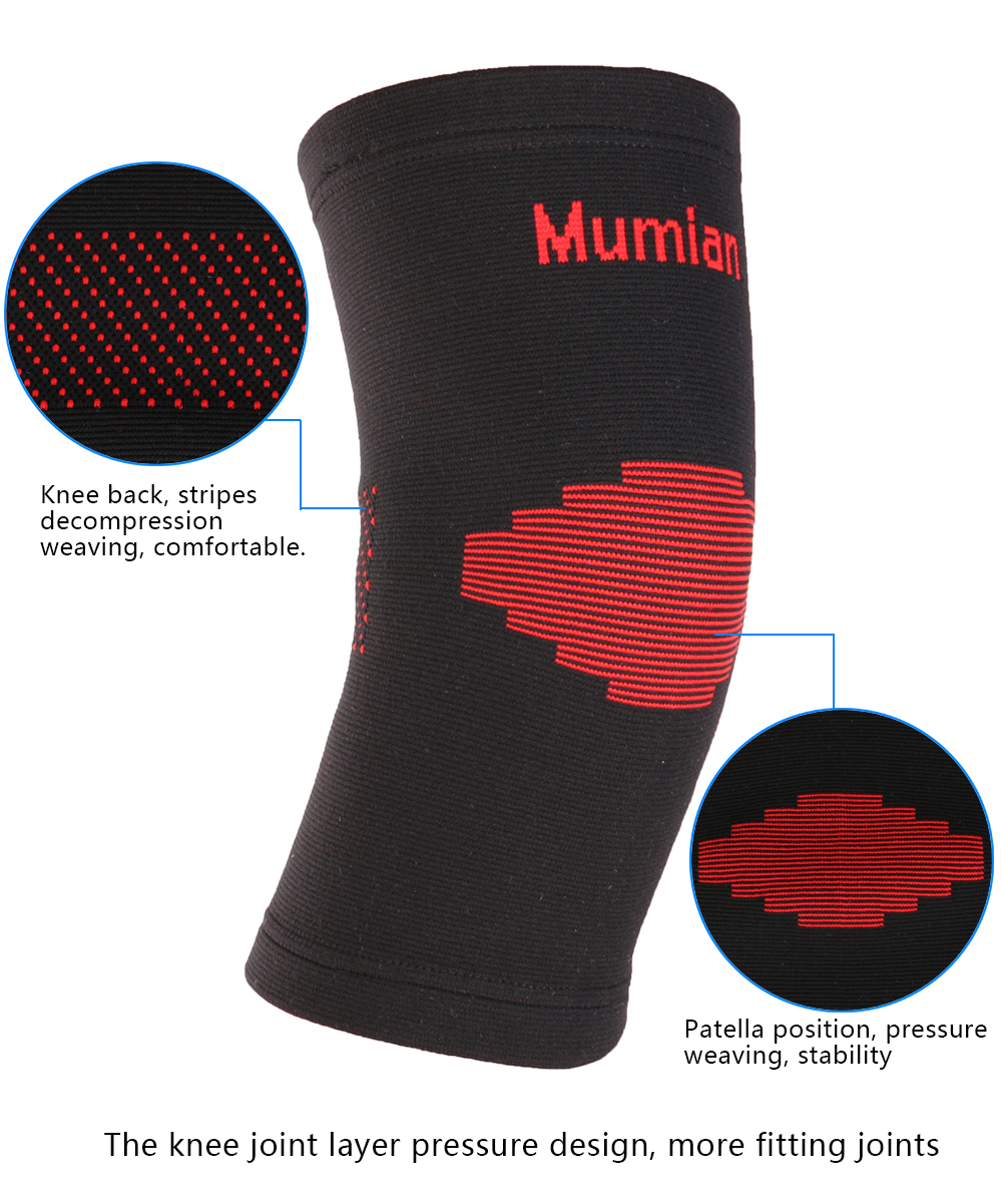 Mumian A03 Classic Red Black Color knitting Warm Sports Knee Pad Knee Sleeve Brace - 1PC