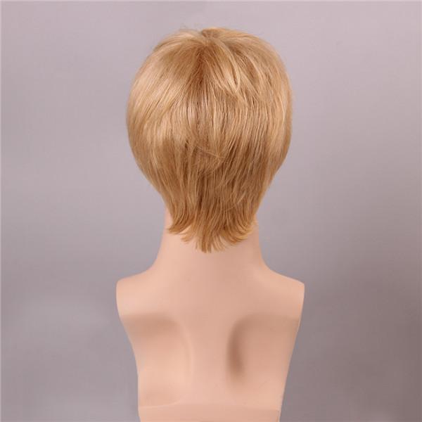 Blonde Men Short Mono Top Human Hair Wig Male Virgin Remy Capless Side Bang