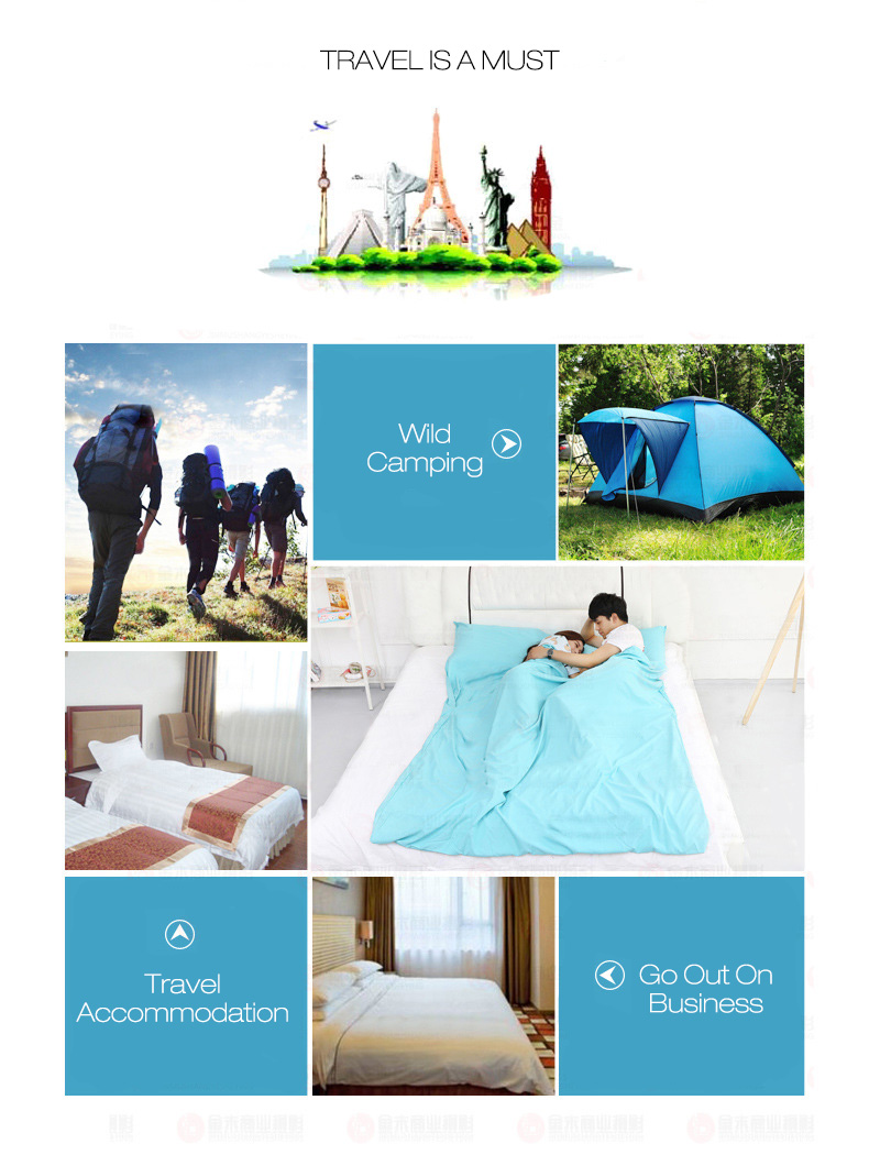 Honana WX-B36 Outdoor Sleeping Bag Liner Pongee Portable Camping Travel Sleeping Bag Bed Mattress Sheet