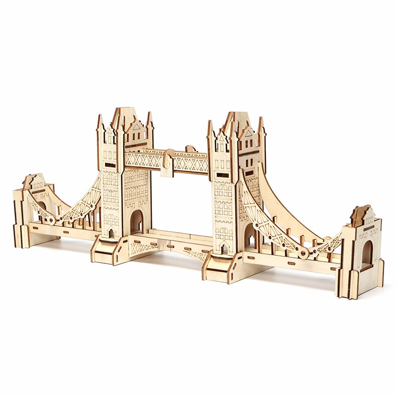 3D Jigsaw London Tower Bridge Woodcraft Assembly Handicraft Home Decor DIY Model Puzzle IQ Challenger