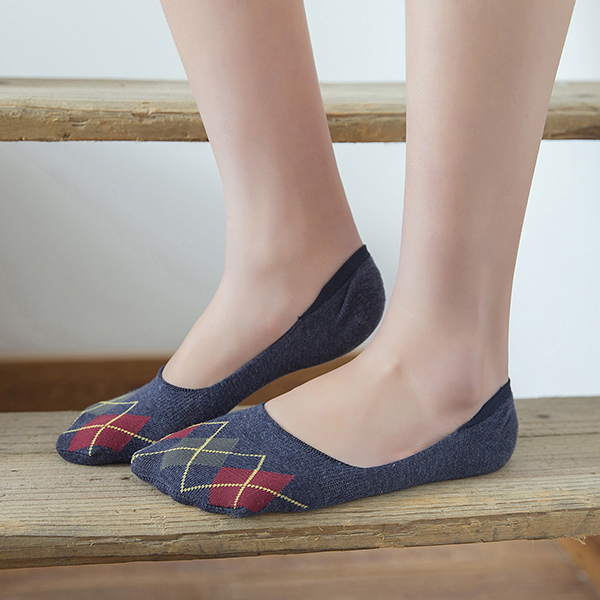 Women Plaid Cotton Breathable Antiskid Invisible Socks