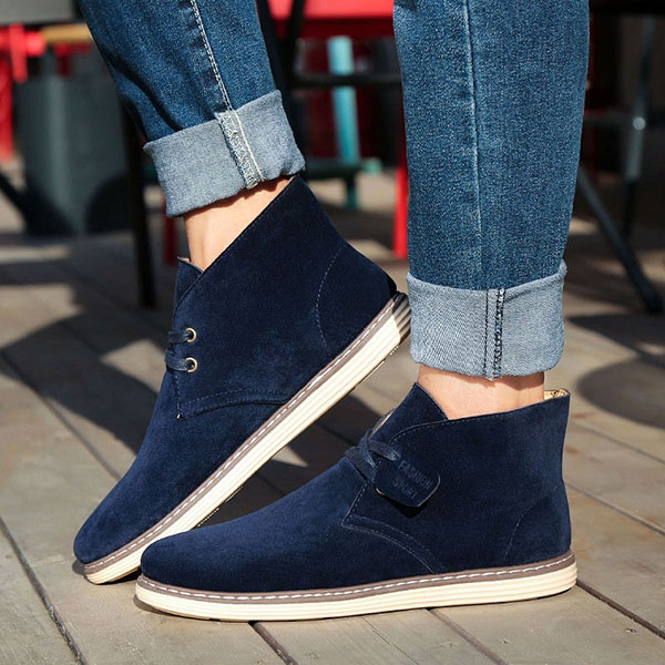Men Soft Suede Leather High Top Flat Sneakers Boots