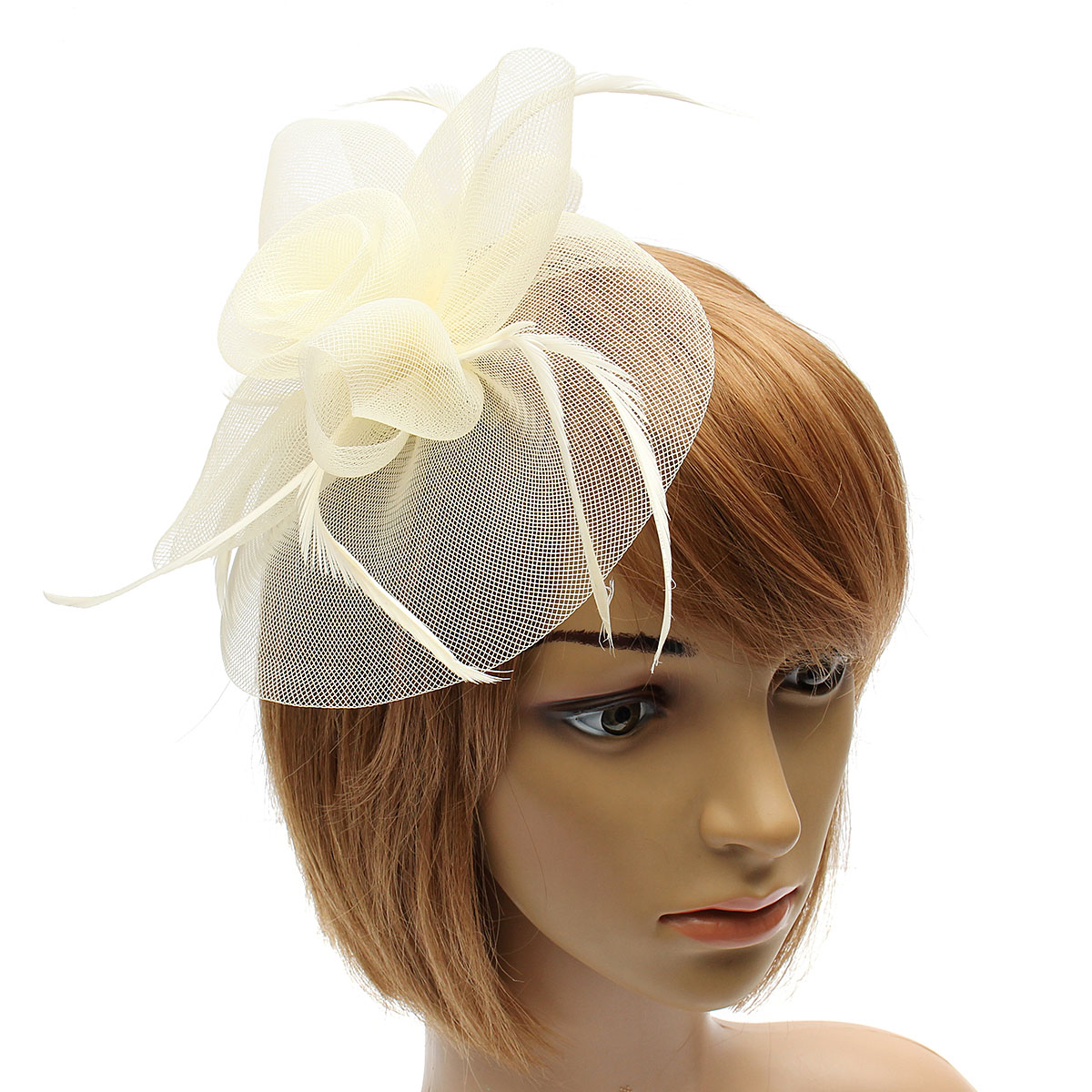 Bride Women Flower Feather Mesh Fascinator Wedding Party Headpieces