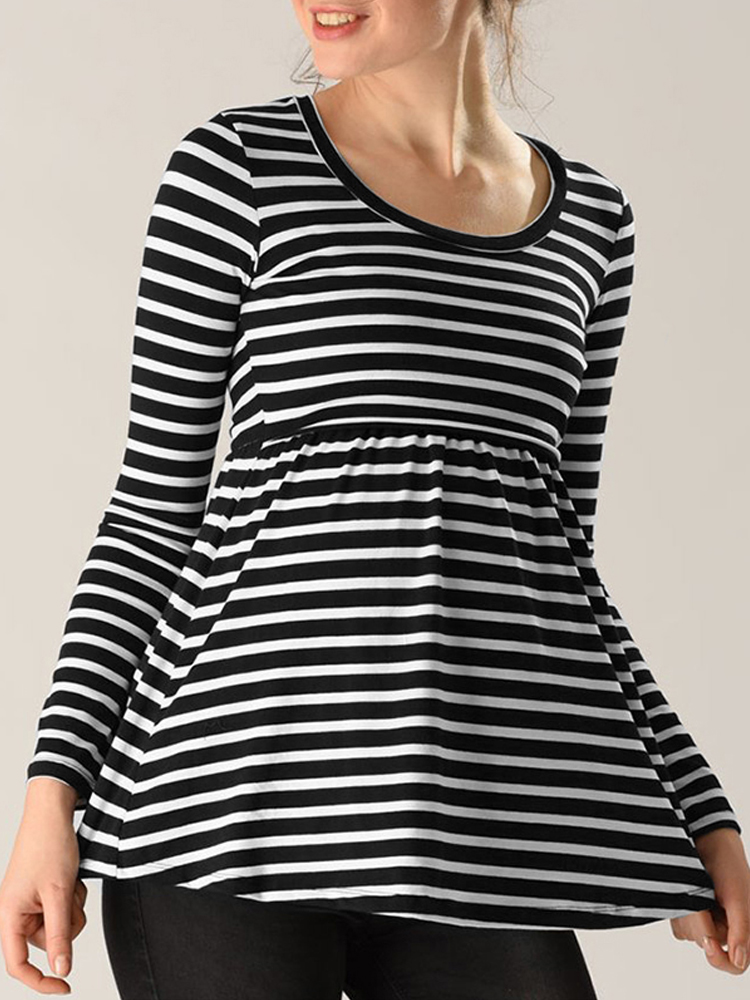 Striped Long Sleeve O-neck Breastfeeding Maternity Tops