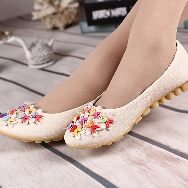 Lovely Colorful Floral Flat Shoes Slip On Soft Sole Casual Flat Loafers