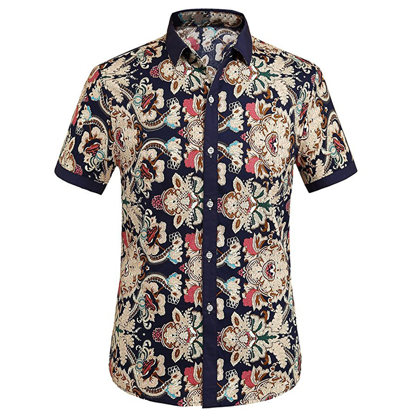 Mens Fashion Floral Printing Casual Summer Beach Shirts