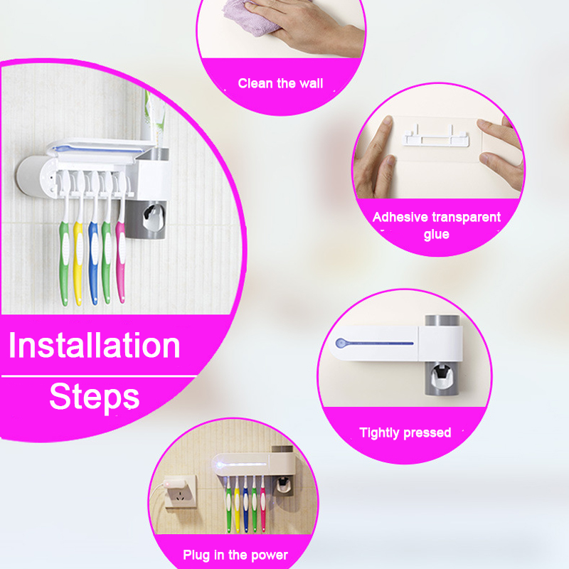 UV Toothbrush Sterilizer Wall Mounted Toothbrush Holder