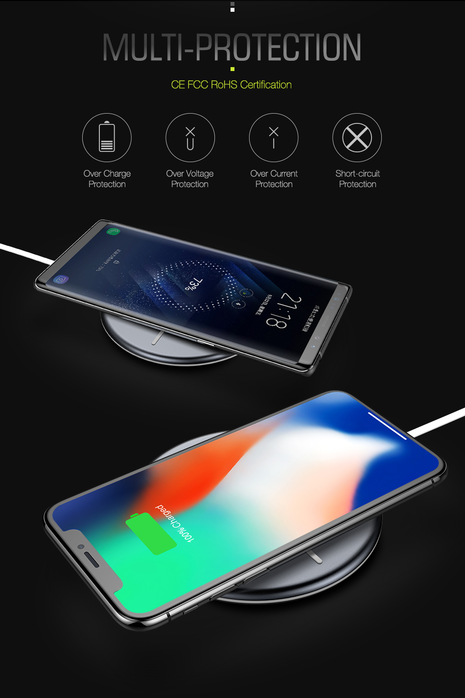 FLOVEME LED Indicator Super Slim Qi Wireless Charger Charging Pad For iPhone X 8 8Plus S9+ S8