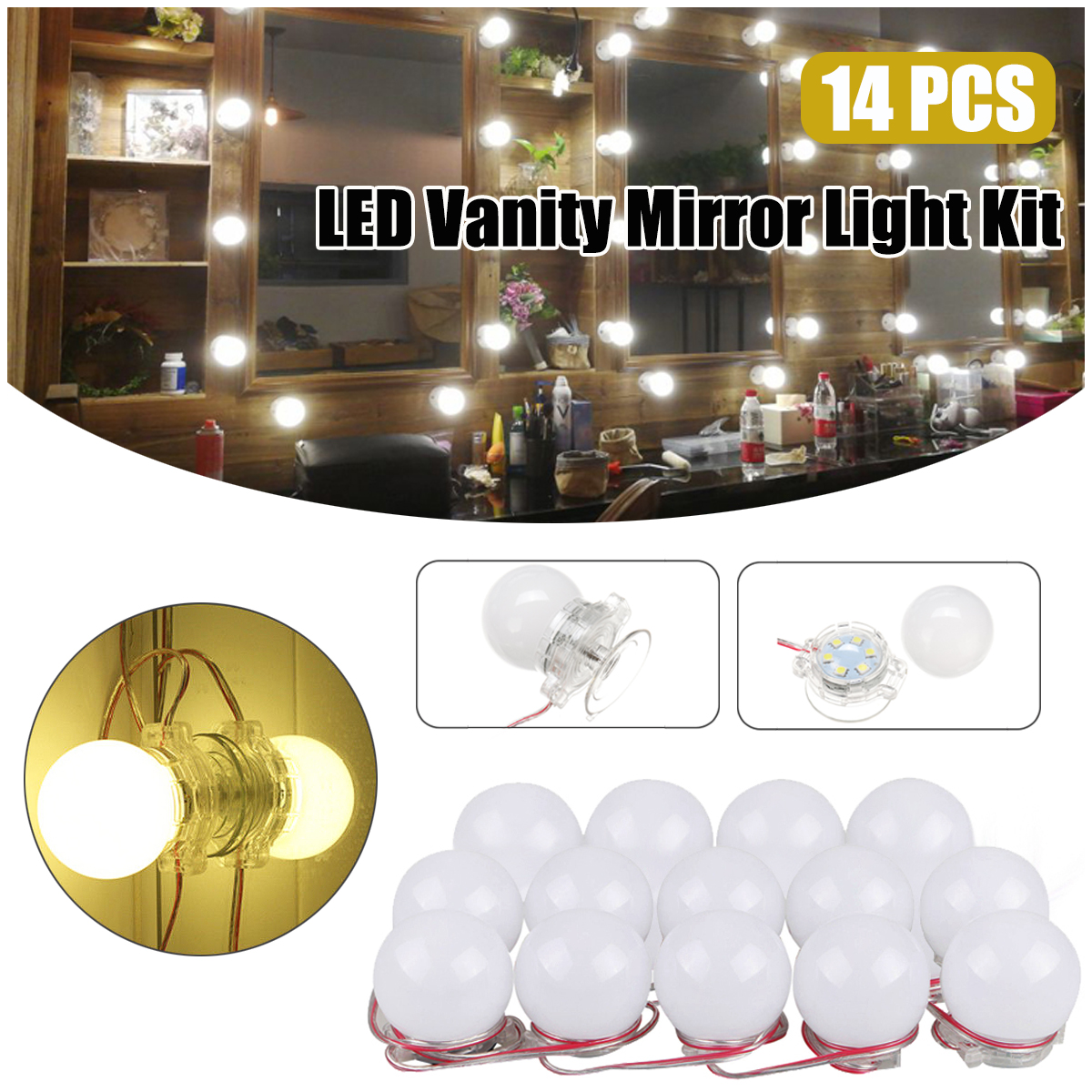 14 LED Lamp String White Makeup Mirror Lamp Cosmetic Tool