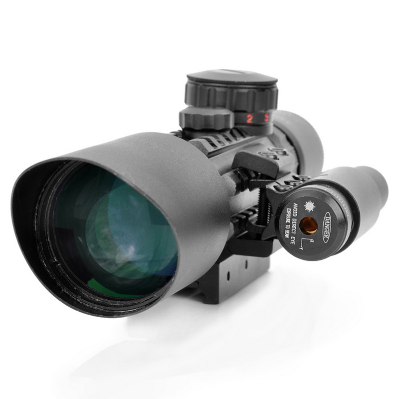 KALOAD 3-10X42E Tactical Hunting Magnification Telescope Cross Green Red Dot Sight Optics Riflescope