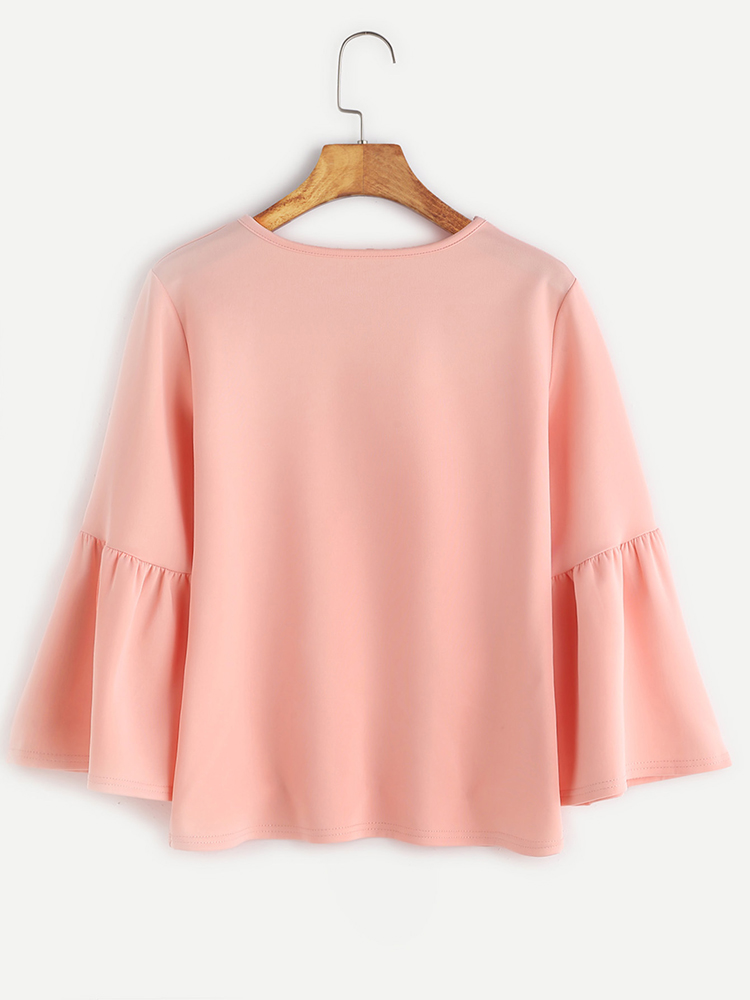 Women Casual O-Neck Pure Color Long Horn Sleeve T-shirts