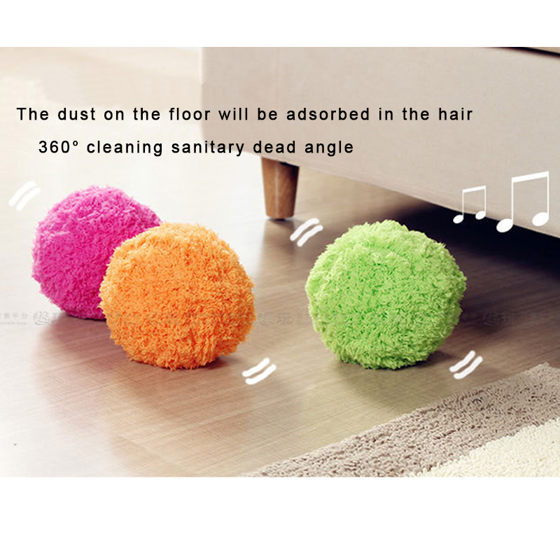 Microfiber Mop Rolling Ball Sweep Robots Automatic Vacuum Cleaner Plush Electronic Toys Random Color