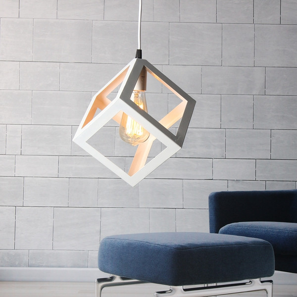 Modern E27 Metal Cube Ceiling Pendant Light Chandelier Fixtures Lamp Bar Hotel Restaurant