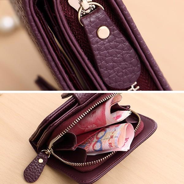 Women Hasp Lichi Pattern Short Wallet Girls Zipper Wallet Card Holder Coin Bags