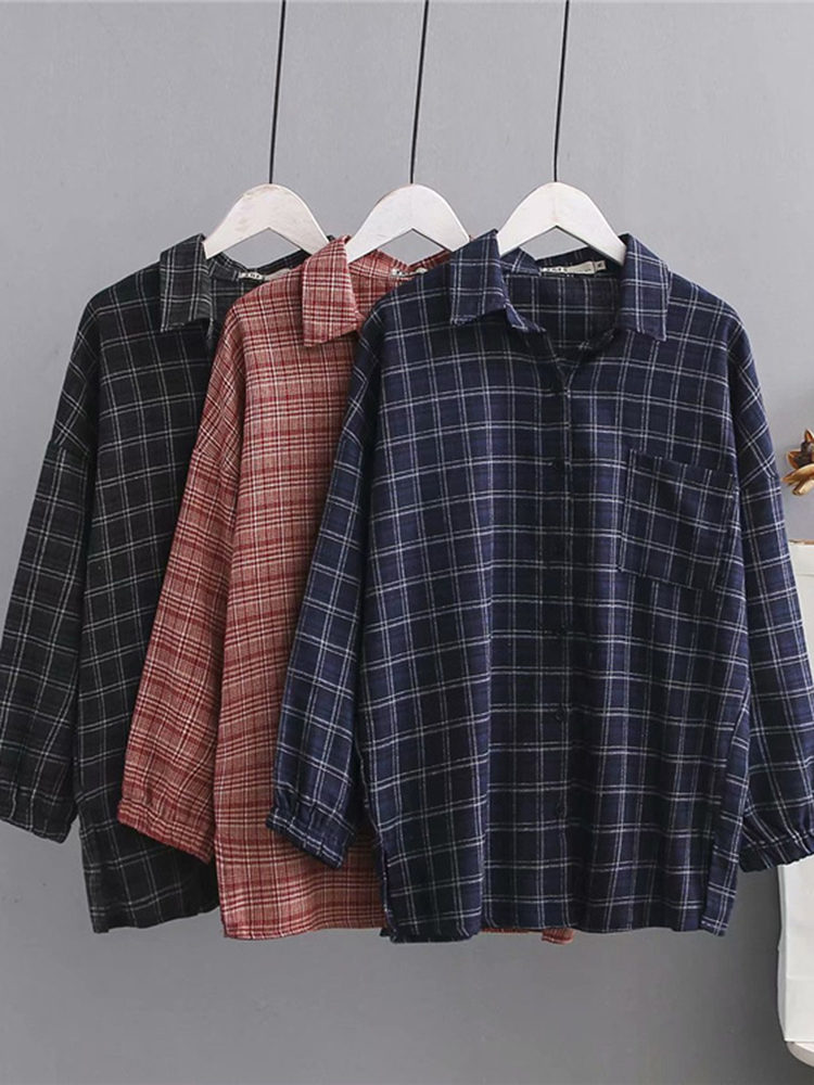 3-6XL Casual Lapel Long Sleeves Button Plaid Shirts