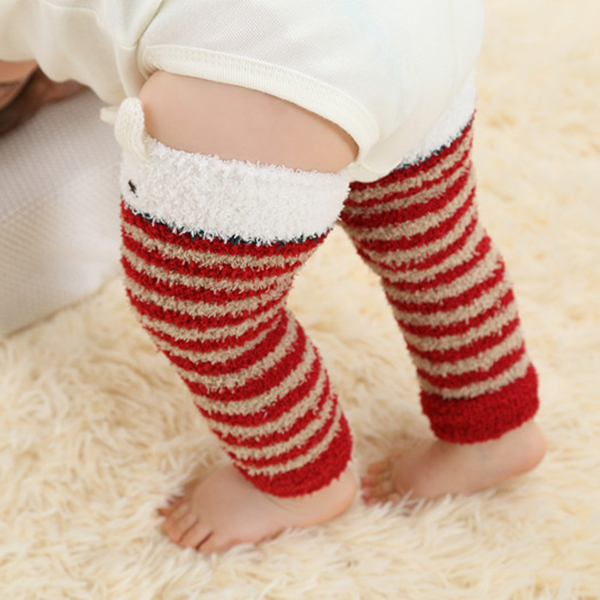 Children Boys Girls Stripe Warm Leg Warmers Thick Knee Pads Safety Crawling Knee Socks