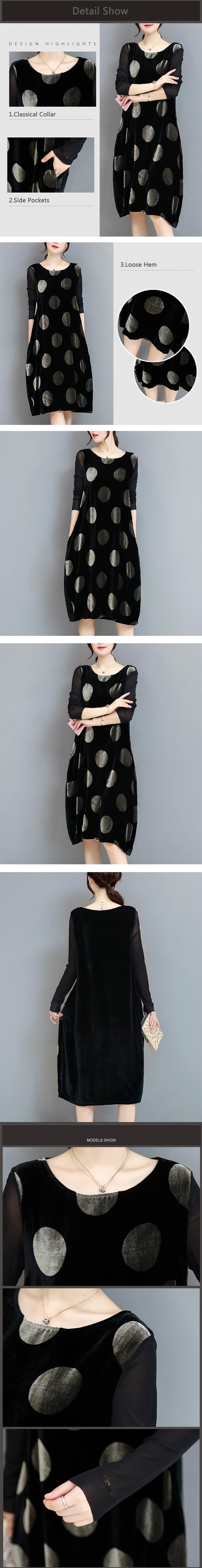 Elegant Polka Dot Velvet Loose Dress
