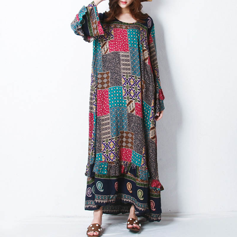 Retro Women Random Printed Patchwork Boho Maxi Dress