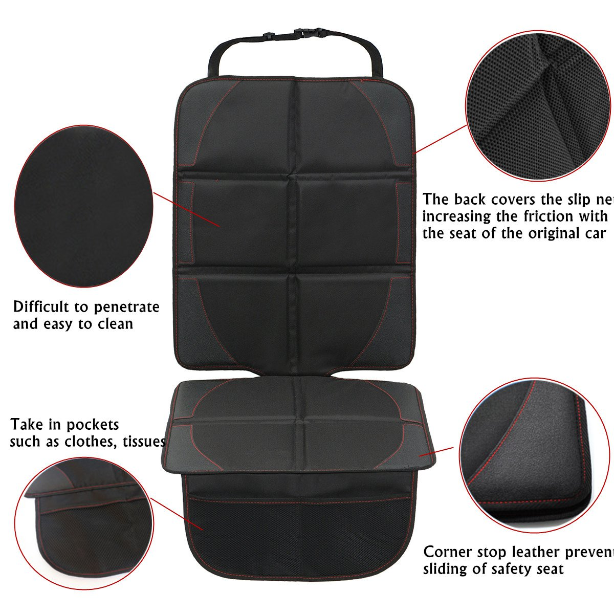 600D Polyester Car Seat Cushion Baby Seat Cover Protector Pad Black Universal