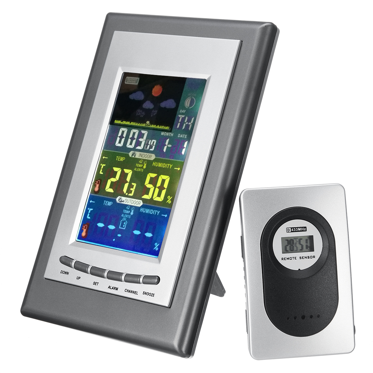 LCD Weather Station Temperature Sensor Clock Electronic Thermometer Humidity with Remote Sensor
