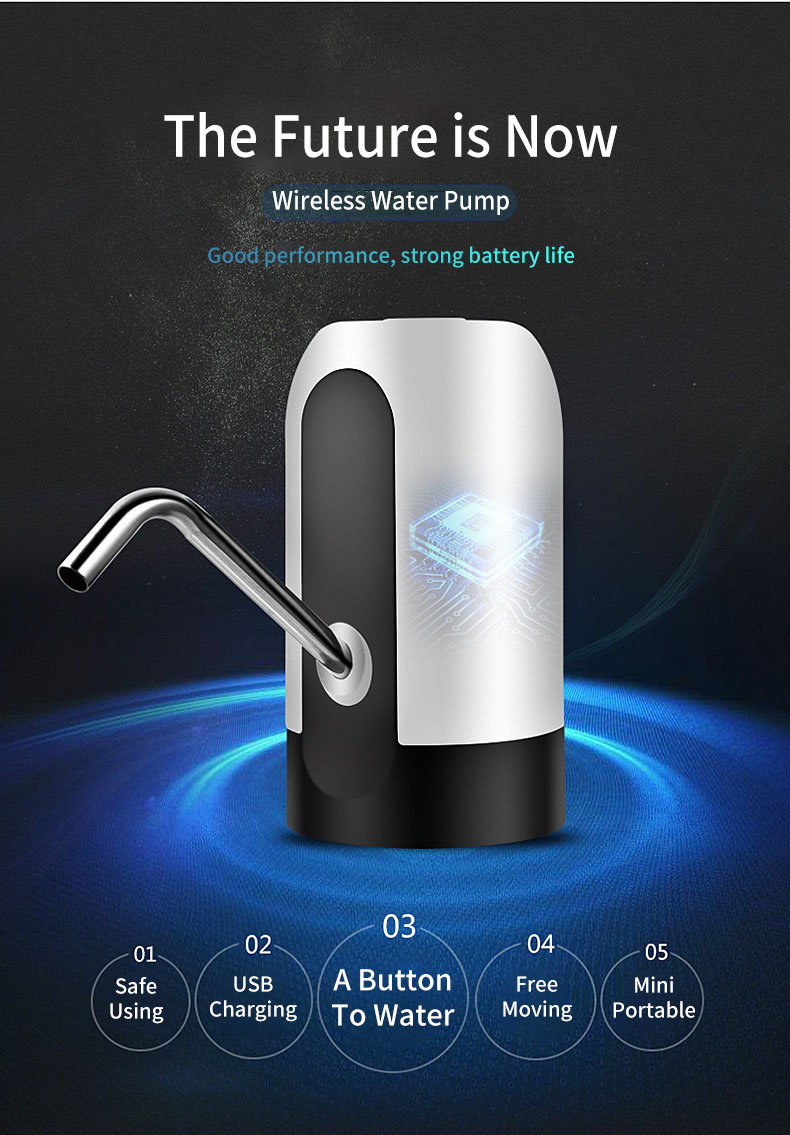 KCASA Electric Charging Water Dispenser USB Charging Water Bottle Pump Dispenser Drinking Water Bottles Suction Unit Faucet Tools Water Pumping Device