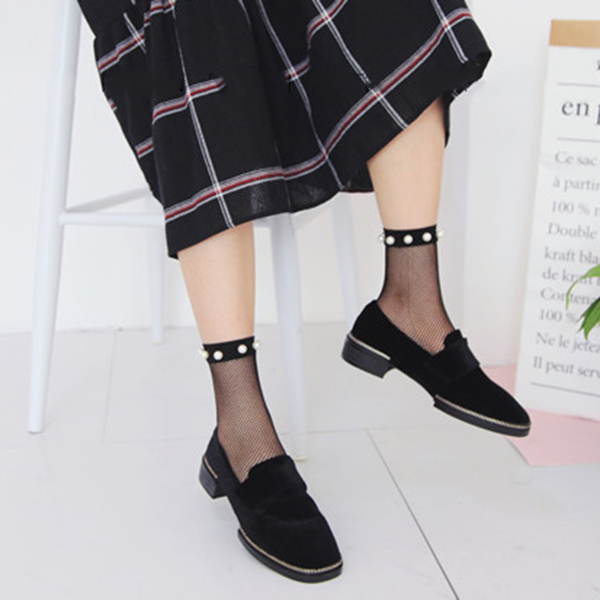 Women Girls Black Harajuku Fish Net Socks Hollow Out Breathable Sexy Pearl Mesh Ankle Socks