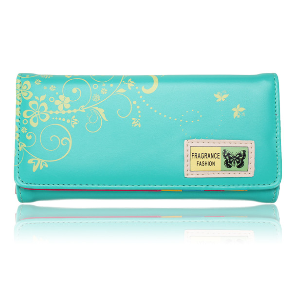 Women Butterfly Purse PU Leather Clutch Wallet Card Holder