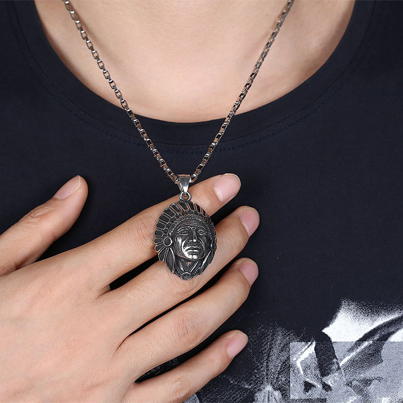 Vintage Men's Titanium Steel Necklace Maya Sweater Chain