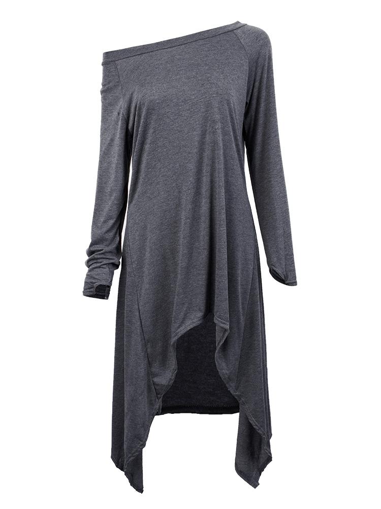 Women One Shoulder irregular Long Sleeve Loose T-shirt