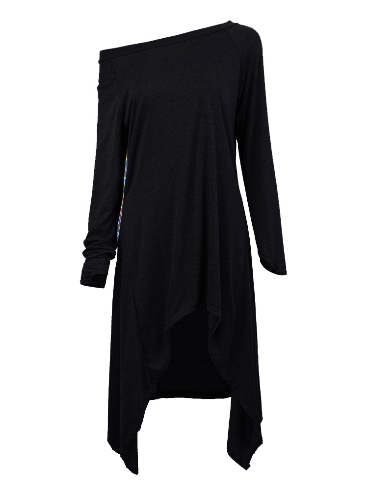 Women One Shoulder irregular Long Sleeve Loose T-shirt