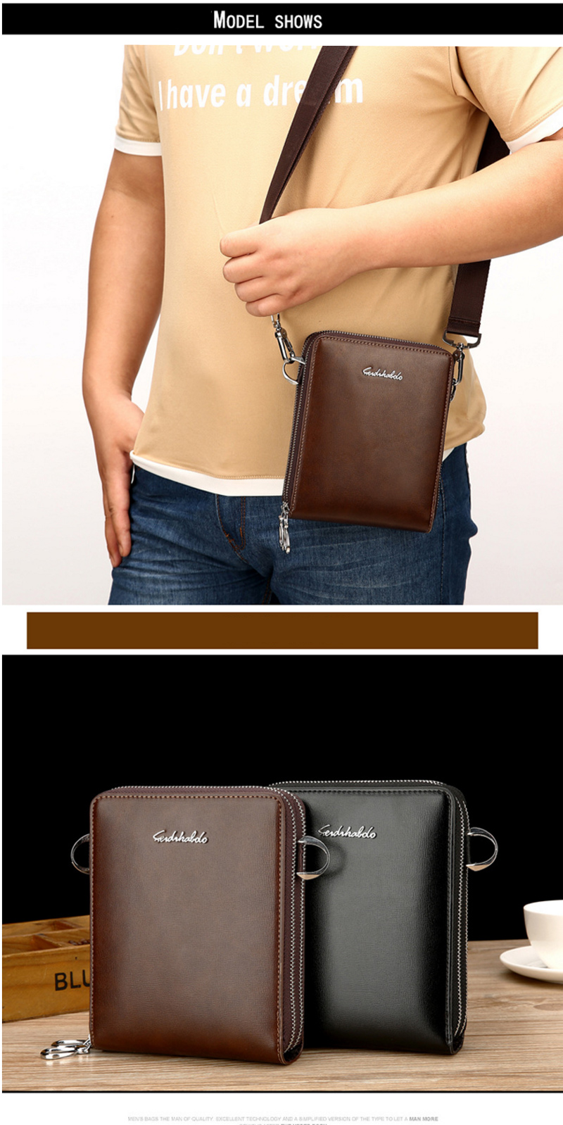 Solid PU Crossbody Shoulder Bag for Men