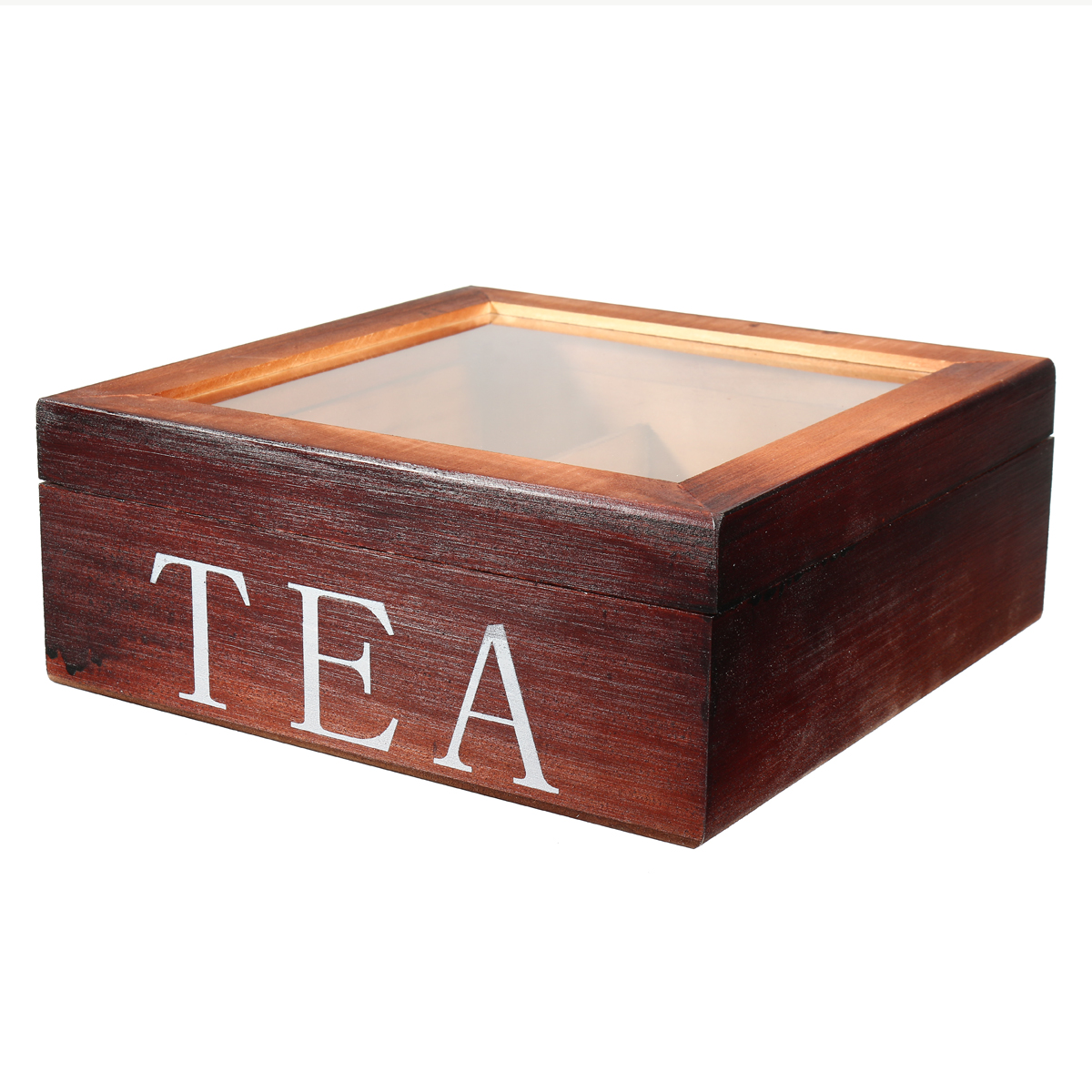 Tea Bag Stores Wooden Tea Box 9 Compartments Hinged Glass Lid Tea Organizer