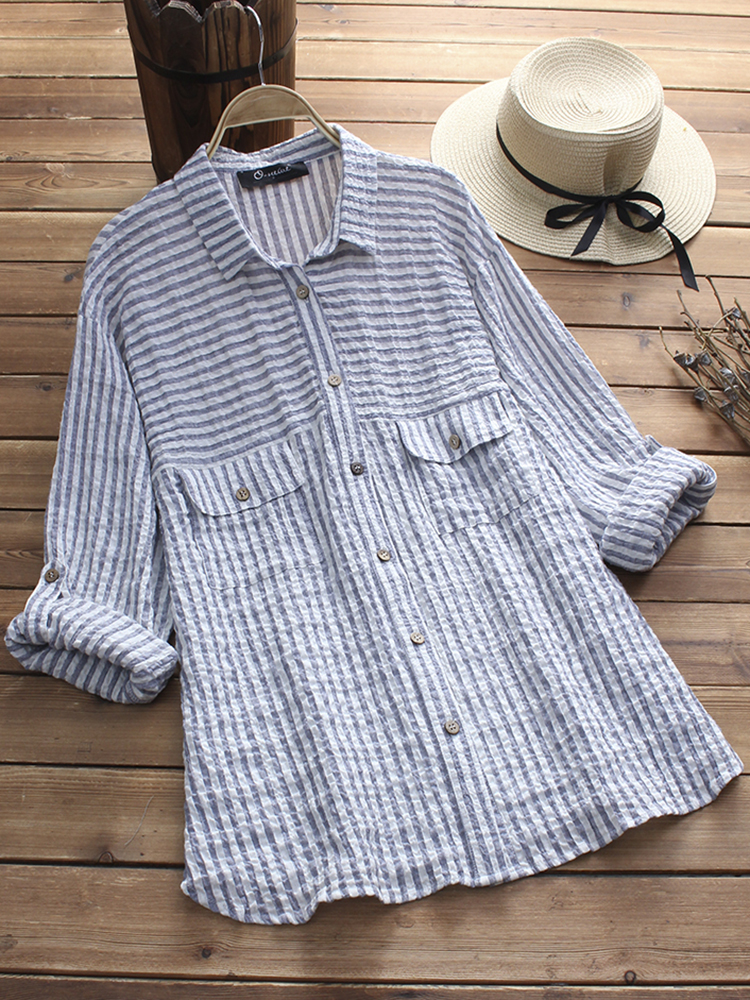 Women Adjustable Long Sleeves Stripe Shirts with Pockets