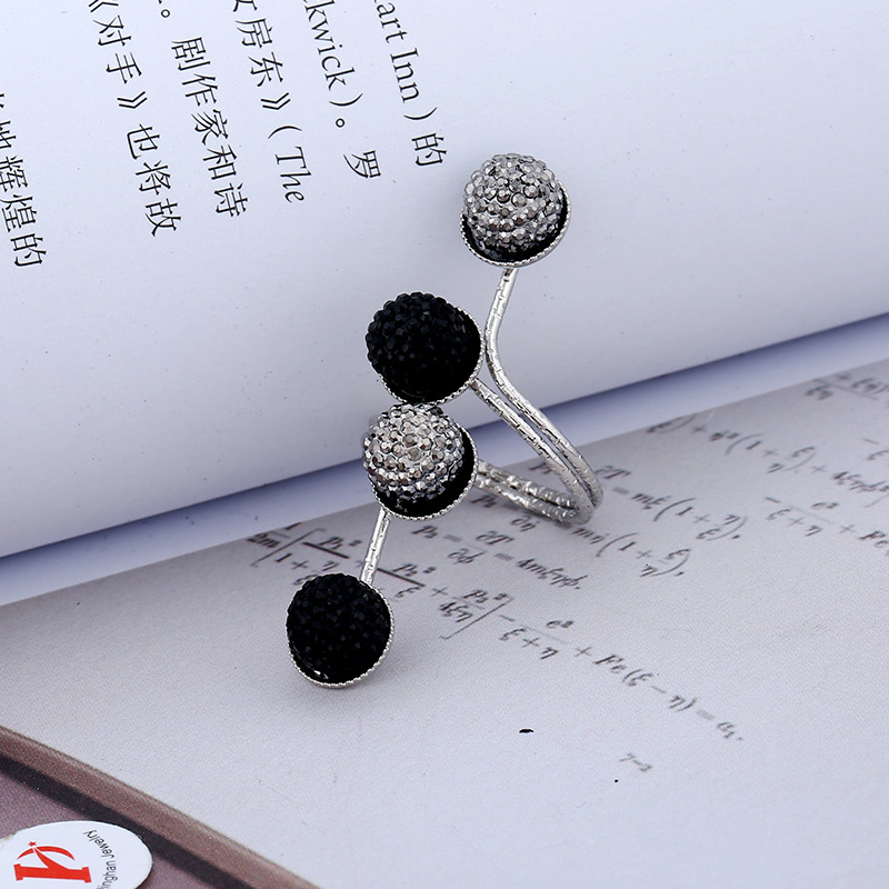 Fashion Alloy Black Statement Shiny Stone Ball Knuckle Ring