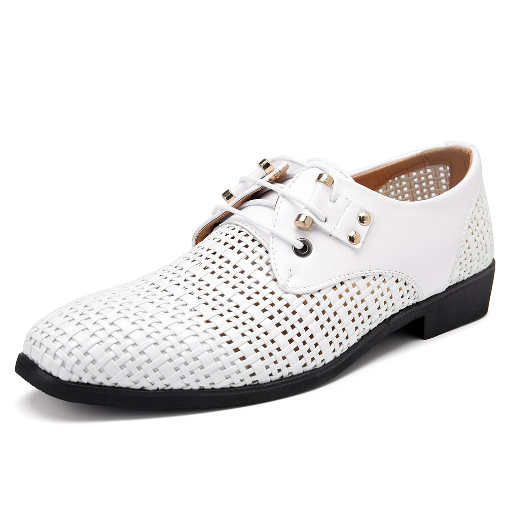 Men Breathable Genuine Leather Hollow Outs Business Shoes
