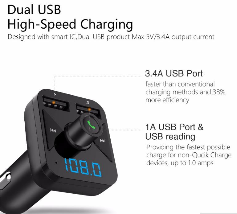 iMars™ BT16 Car FM Transmitter AUX Wireless bluetooth Hands-free MP3 Player Dual USB Charger