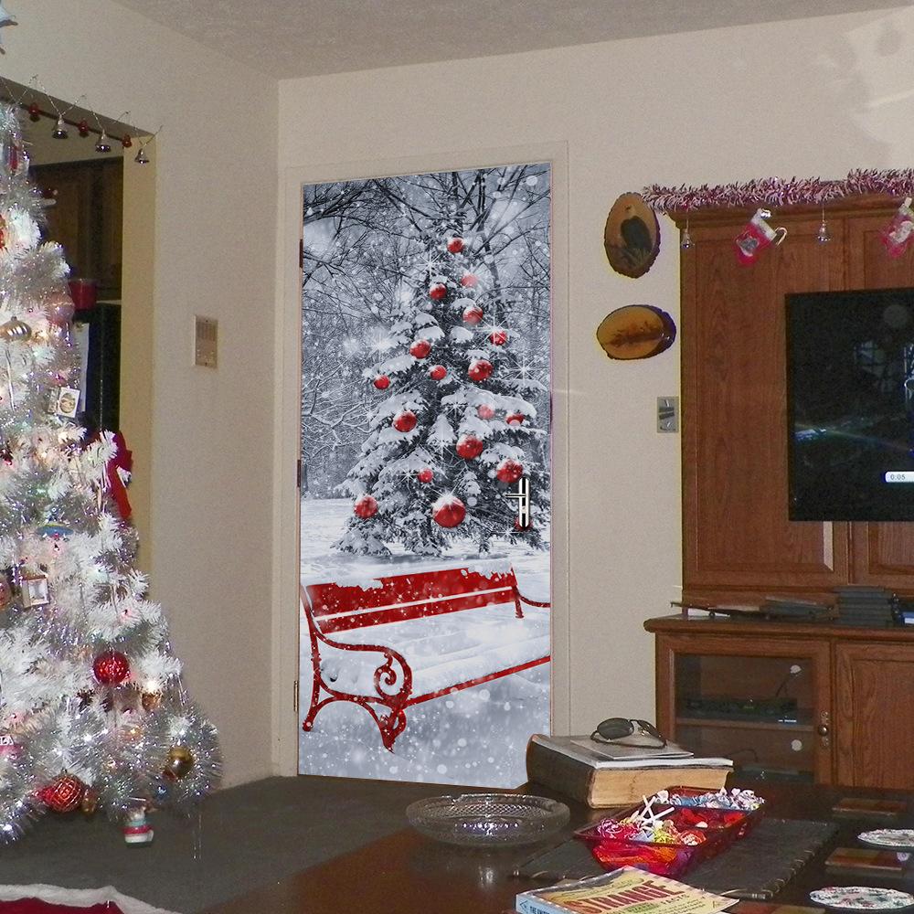 Christmas Tree 2017 Funlife3D Door Sticker Christmas Tree Creative Wall Sticker Wooden Door Refurbished