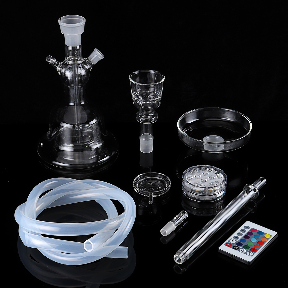 Glass Match Clear Bowl With LED Light Water Pipe Portable Nargile Decorative Glassware