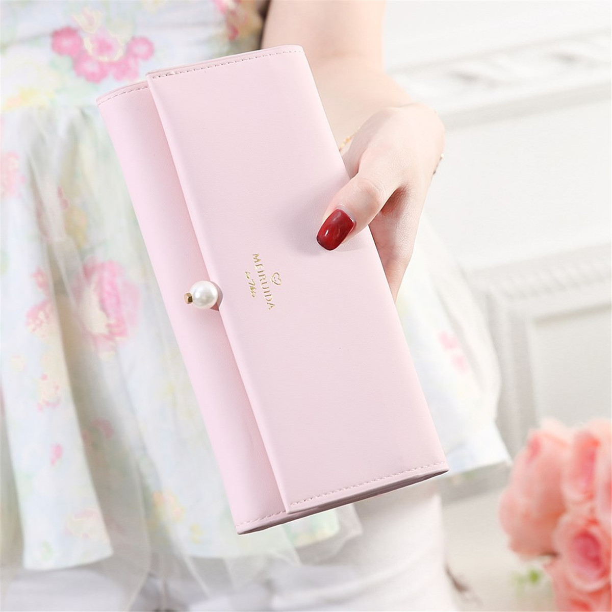 Multifunctional Women PU Leather Pearl Purse Wallet Phone Case Card Holder for Phone under 6 inches