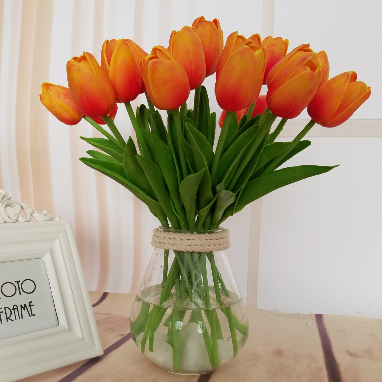 Single Branch Mini Tulip Artificial Flowers Fake Flower for Home Wedding Decoration