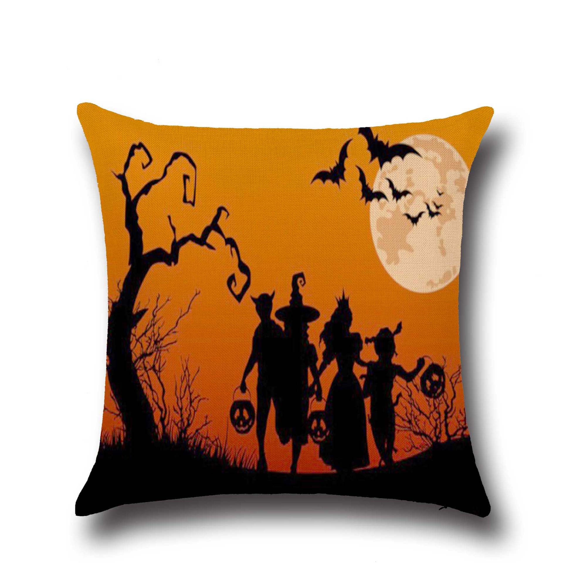 Halloween Dark Witch Pattern Pillowcase Cotton Linen Throw Pillow Cushion Cover Seat Home Decoration Sofa Decor
