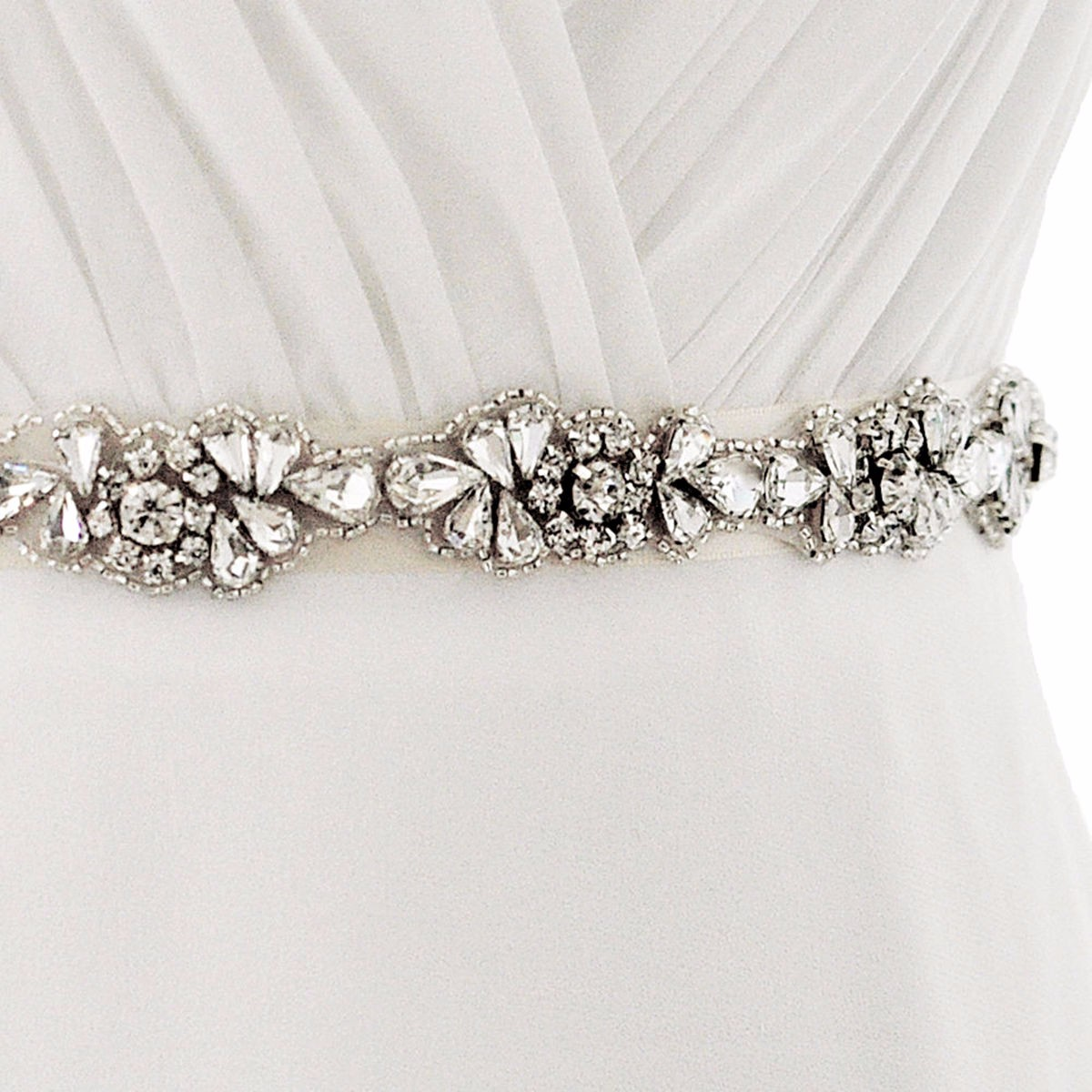 Shiny Diamond Wedding Girdle Dress Bride Bridesmaid Satin Ribbon Yarn Waist Belt
