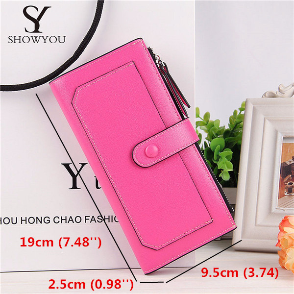 Women Candy Color Long Wallet Hasp Purse Card Holder Coin Bags Clutches