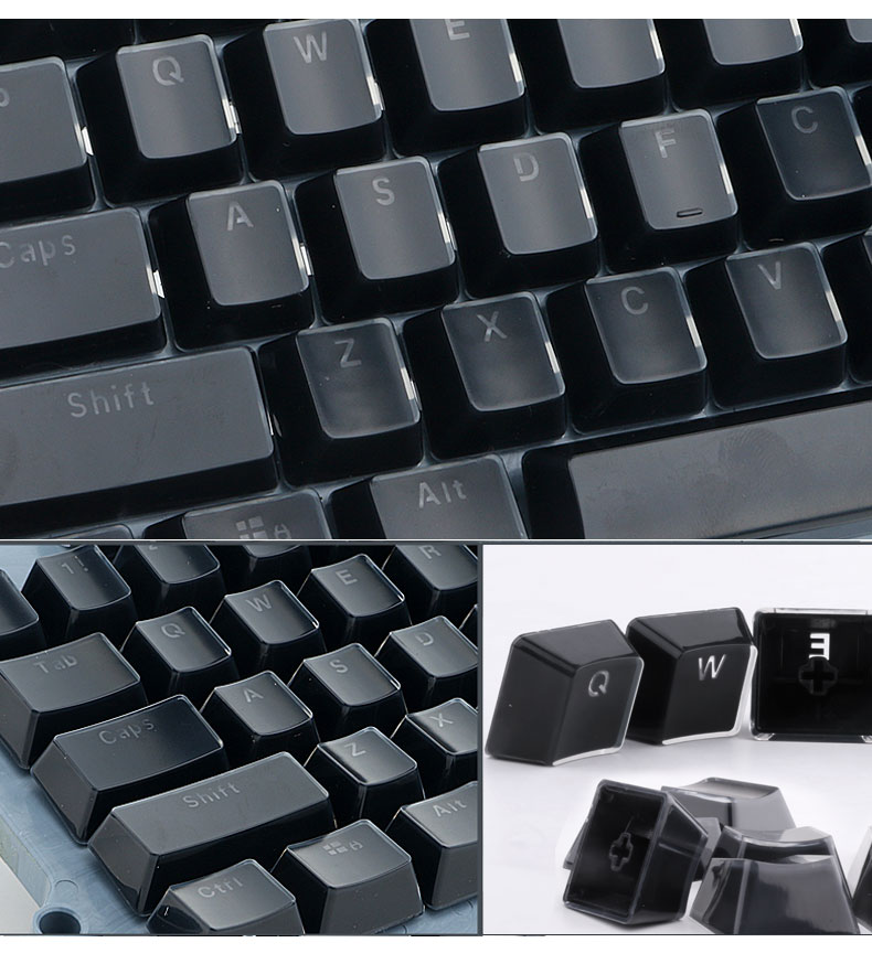 E-element 104 Key Ice Crystal Keycaps Light-transmitting Key Caps for Mechanical Gaming Keyboard