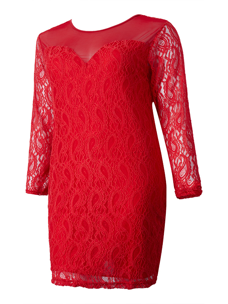 Women Plus Size Long Sleeve Hollow Hand Crocheted Lace Dress