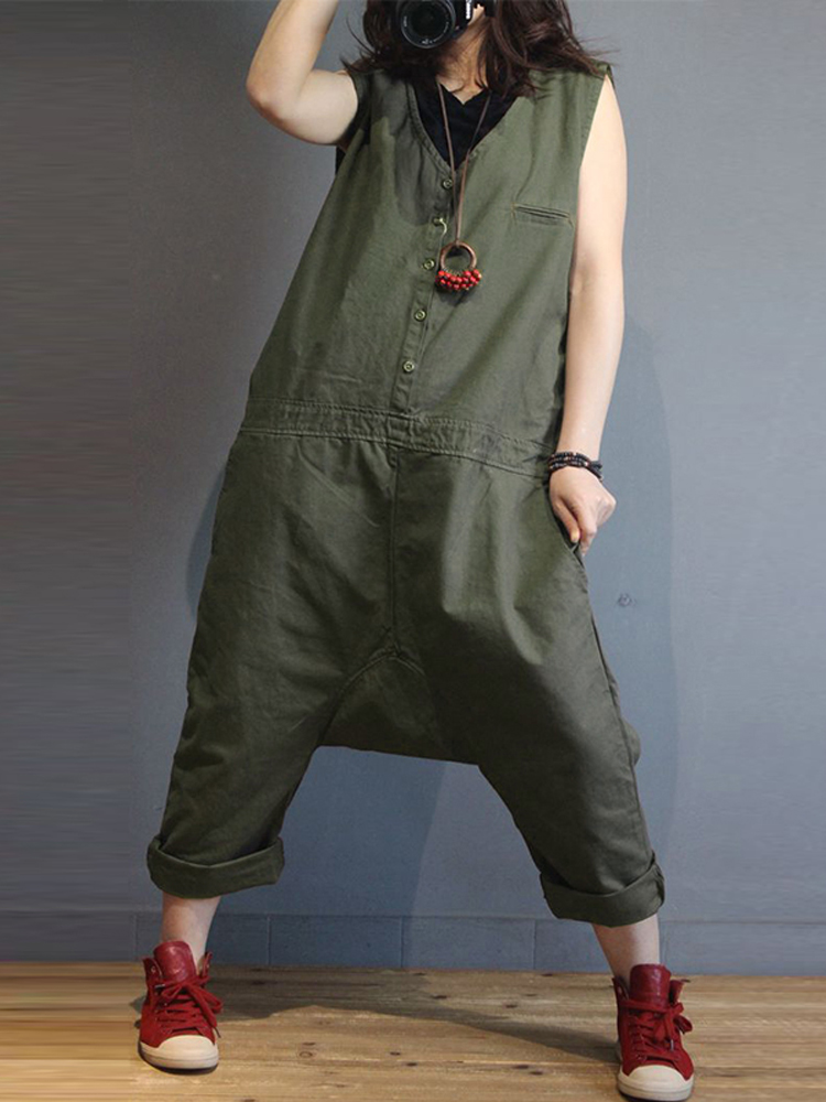 Women Sleeveless V Neck Loose Harem Jumpsuits Overalls