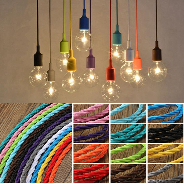 5m Vintage Colored DIY Twist Braided Fabric Flex Cable Wire Cord Electric Light Lamp