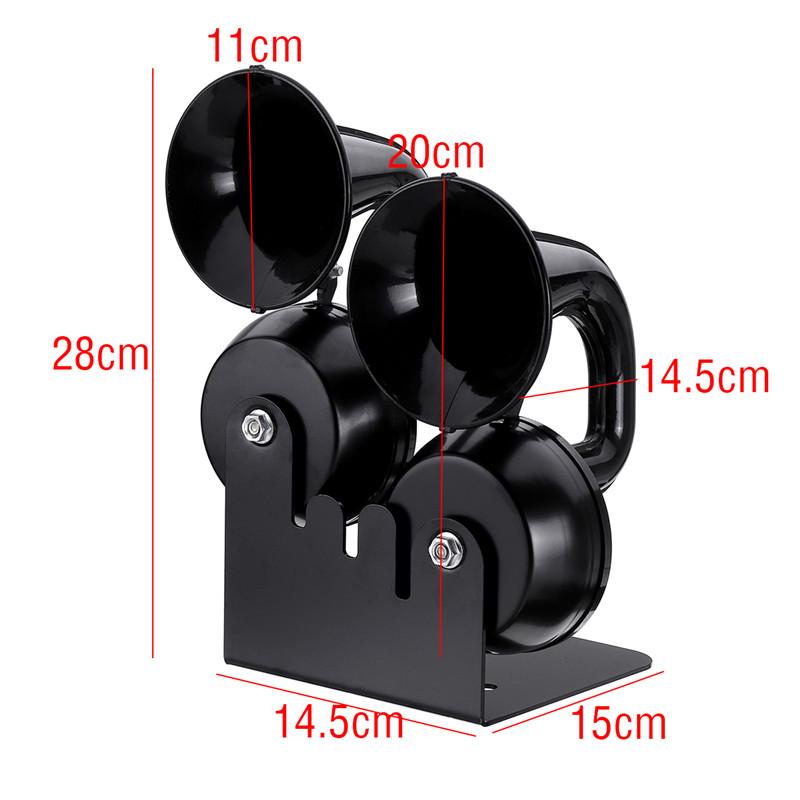 12V 130hz 126db/130db Single/Double Snail Air Horn Elbow Whistle Black Alloy For Car Trucks