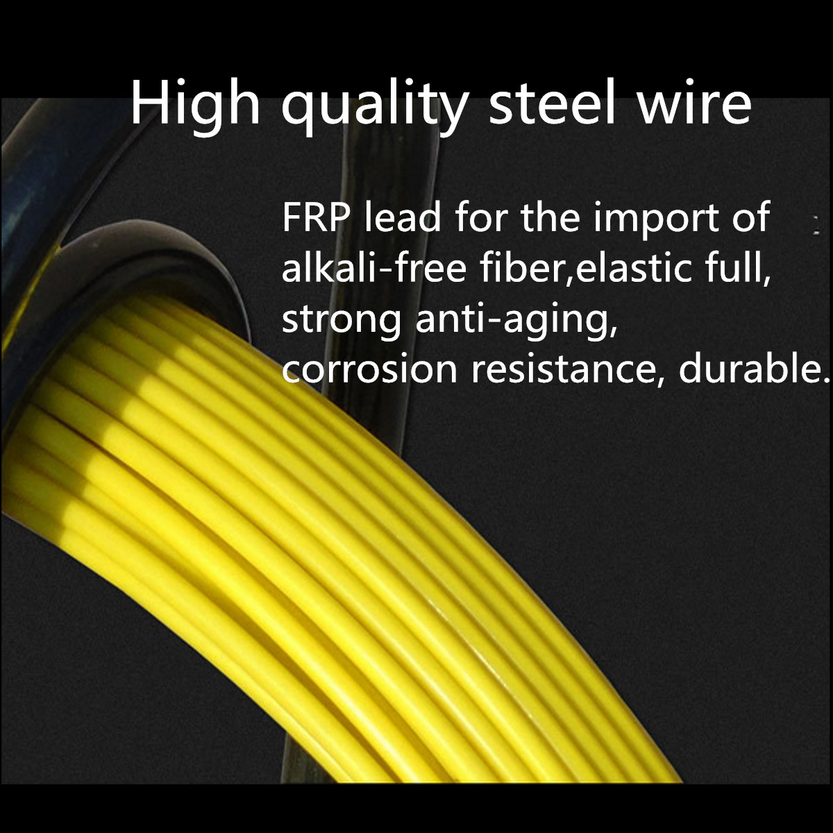6mm Fiber Glass Wire Cable Snake Rod Duct Electric Tape Running Puller Rodder
